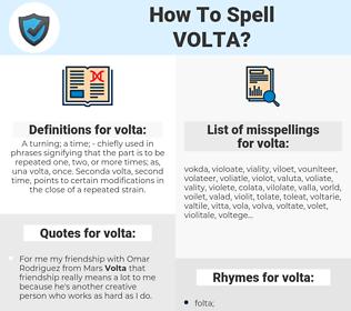 volta, spellcheck volta, how to spell volta, how do you spell volta, correct spelling for volta