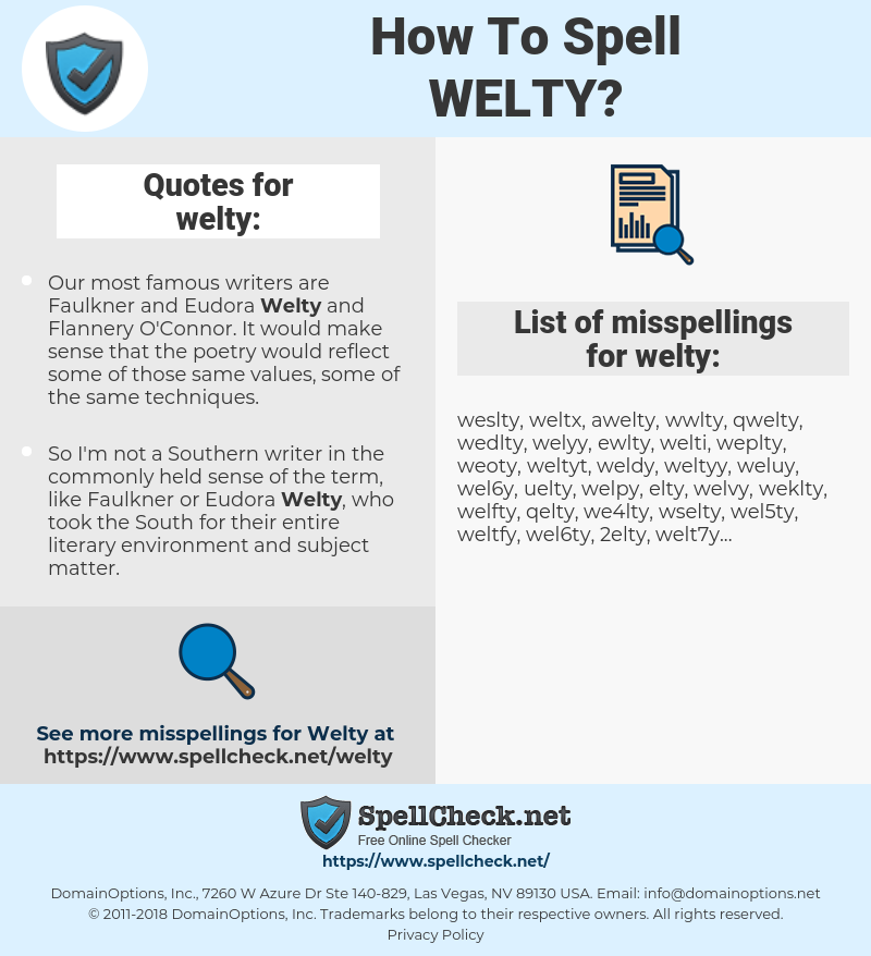 welty, spellcheck welty, how to spell welty, how do you spell welty, correct spelling for welty