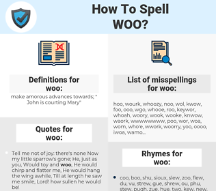 woo, spellcheck woo, how to spell woo, how do you spell woo, correct spelling for woo