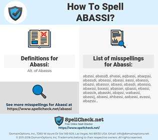 Abassi, spellcheck Abassi, how to spell Abassi, how do you spell Abassi, correct spelling for Abassi