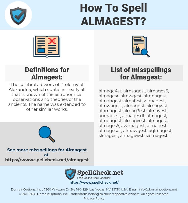 How To Spell Almagest (And How To Misspell It Too)   Spellcheck net