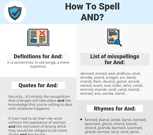And, spellcheck And, how to spell And, how do you spell And, correct spelling for And