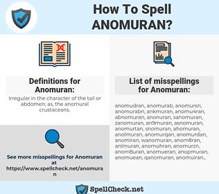 Anomuran, spellcheck Anomuran, how to spell Anomuran, how do you spell Anomuran, correct spelling for Anomuran