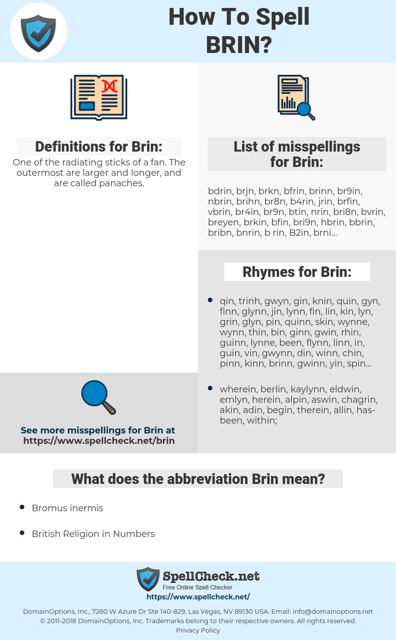 Brin, spellcheck Brin, how to spell Brin, how do you spell Brin, correct spelling for Brin
