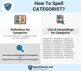 Categorist, spellcheck Categorist, how to spell Categorist, how do you spell Categorist, correct spelling for Categorist