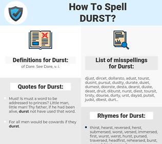 Durst, spellcheck Durst, how to spell Durst, how do you spell Durst, correct spelling for Durst