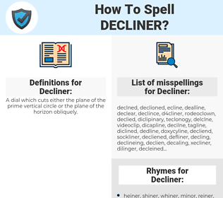 Decliner, spellcheck Decliner, how to spell Decliner, how do you spell Decliner, correct spelling for Decliner