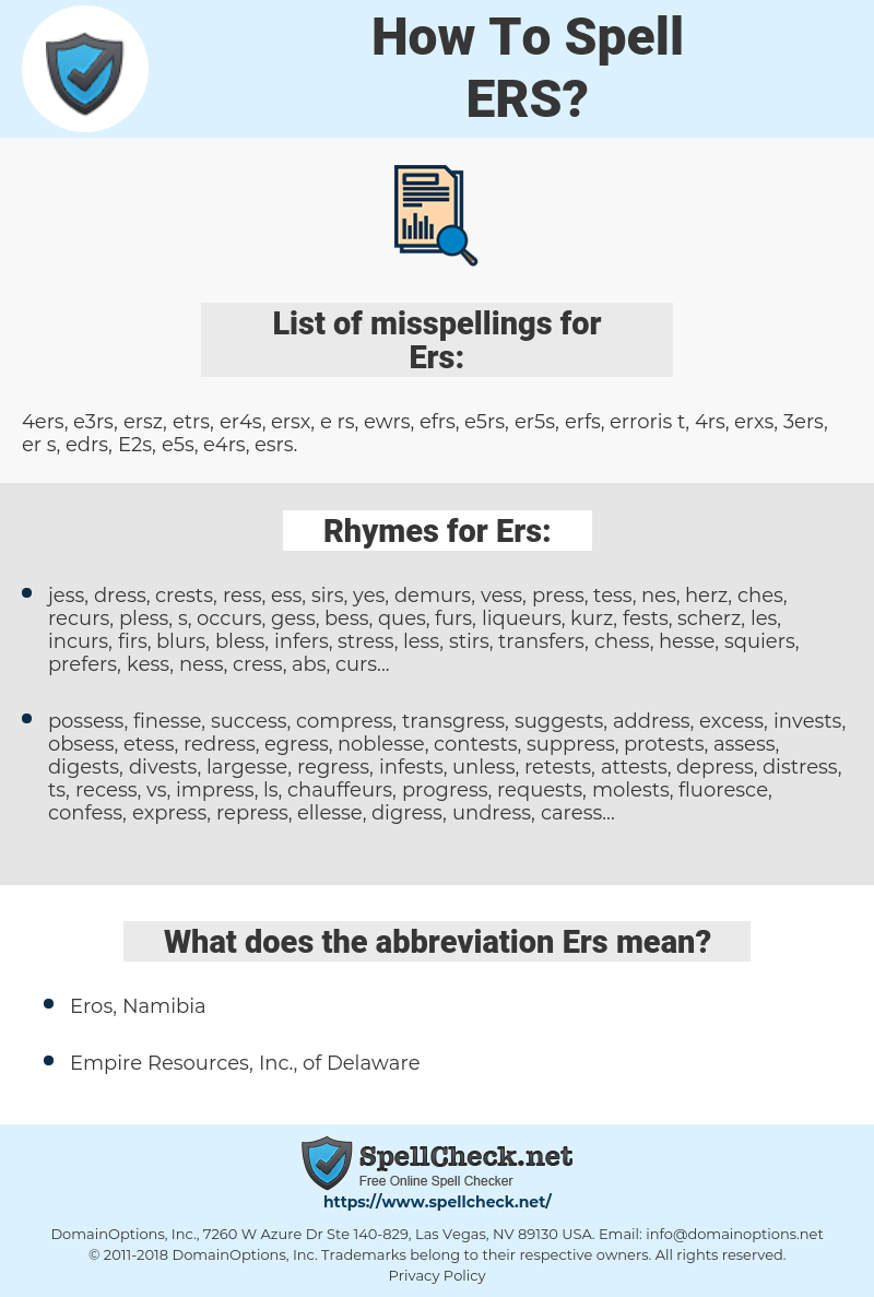 Ers, spellcheck Ers, how to spell Ers, how do you spell Ers, correct spelling for Ers