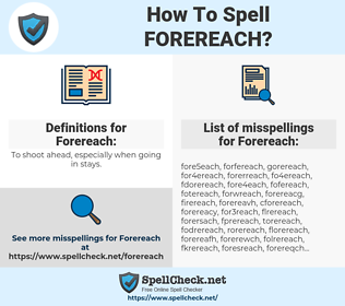 Forereach, spellcheck Forereach, how to spell Forereach, how do you spell Forereach, correct spelling for Forereach
