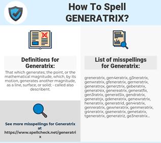 Generatrix, spellcheck Generatrix, how to spell Generatrix, how do you spell Generatrix, correct spelling for Generatrix