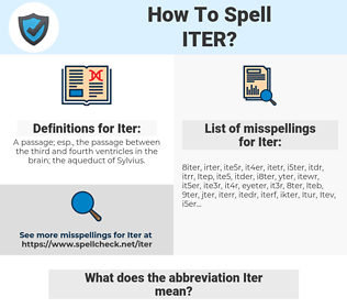 Iter, spellcheck Iter, how to spell Iter, how do you spell Iter, correct spelling for Iter