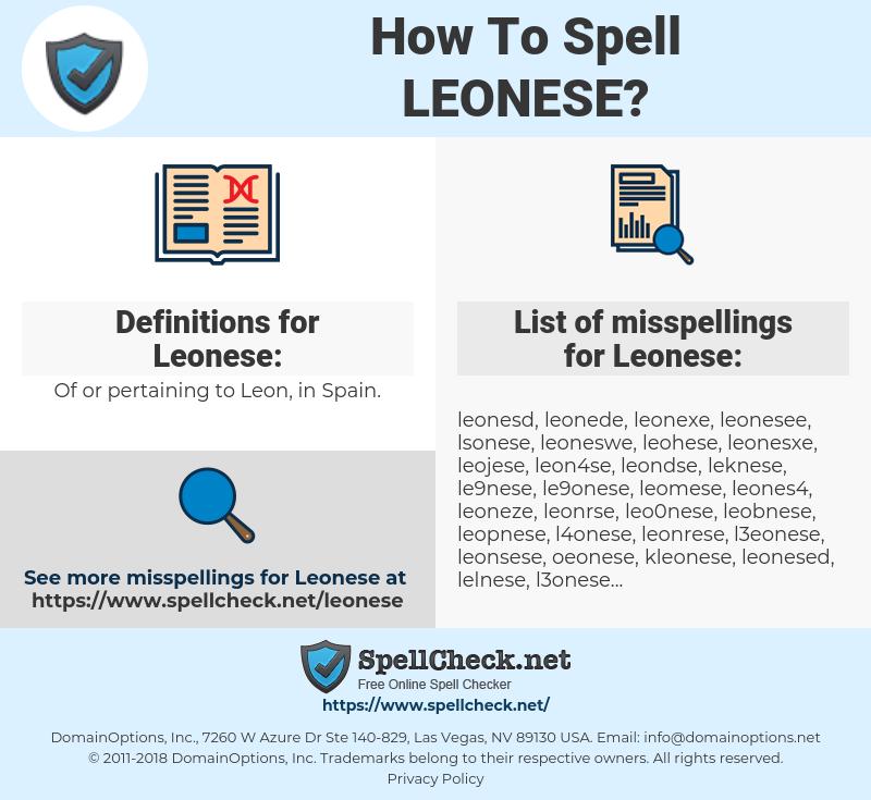 Leonese, spellcheck Leonese, how to spell Leonese, how do you spell Leonese, correct spelling for Leonese