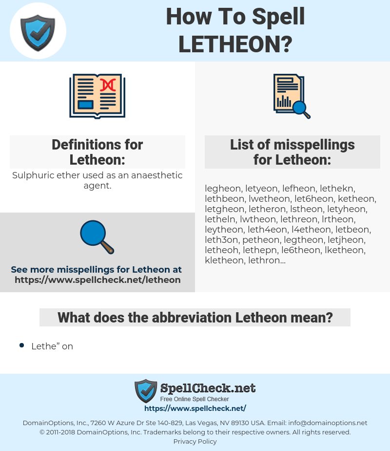 Letheon, spellcheck Letheon, how to spell Letheon, how do you spell Letheon, correct spelling for Letheon