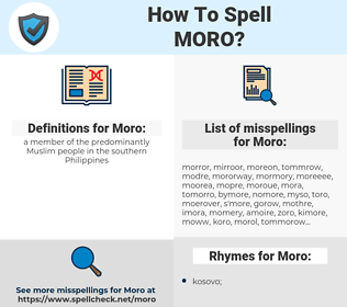 Moro, spellcheck Moro, how to spell Moro, how do you spell Moro, correct spelling for Moro