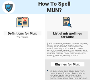 Mun, spellcheck Mun, how to spell Mun, how do you spell Mun, correct spelling for Mun