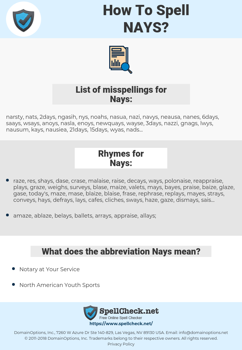 Nays, spellcheck Nays, how to spell Nays, how do you spell Nays, correct spelling for Nays