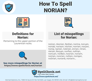 Norian, spellcheck Norian, how to spell Norian, how do you spell Norian, correct spelling for Norian