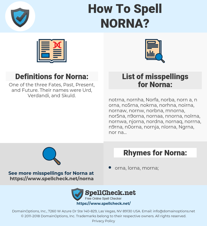 Norna, spellcheck Norna, how to spell Norna, how do you spell Norna, correct spelling for Norna