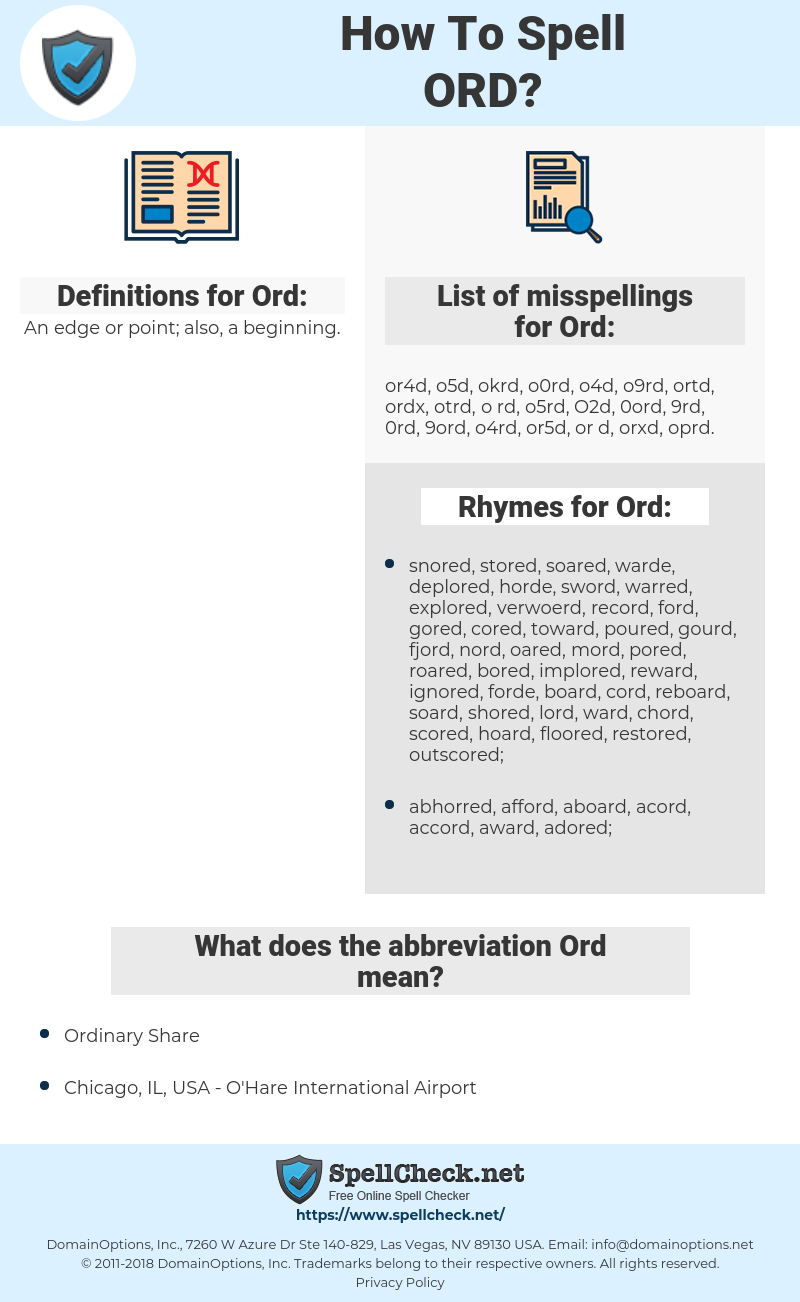 Ord, spellcheck Ord, how to spell Ord, how do you spell Ord, correct spelling for Ord