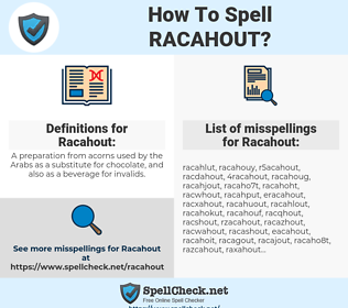 Racahout, spellcheck Racahout, how to spell Racahout, how do you spell Racahout, correct spelling for Racahout