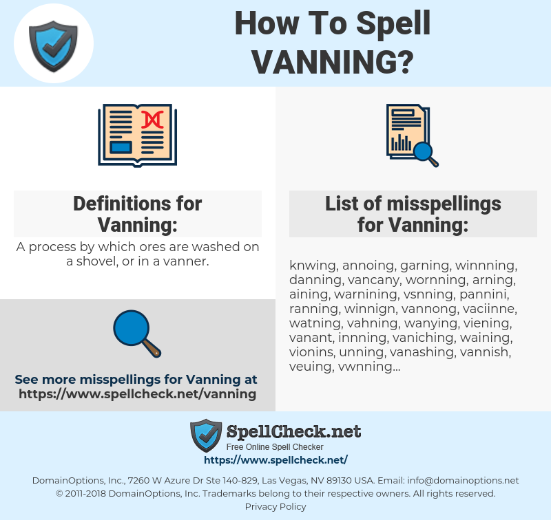 Vanning, spellcheck Vanning, how to spell Vanning, how do you spell Vanning, correct spelling for Vanning