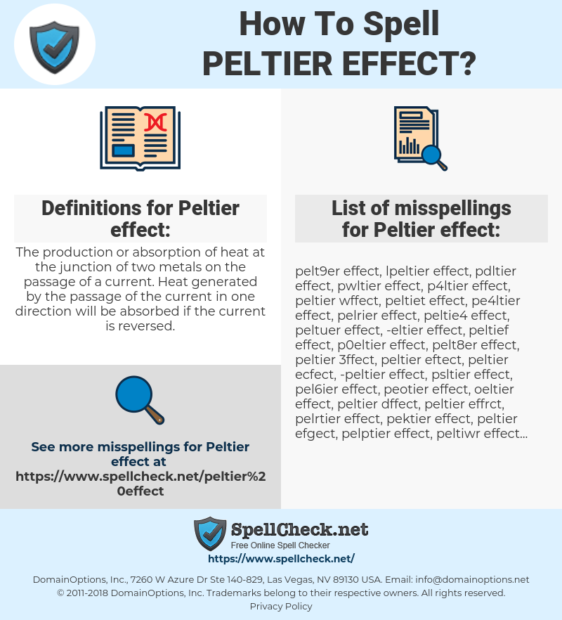 How To Spell Peltier effect (And How To Misspell It Too