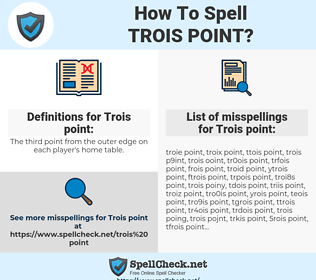 Trois point, spellcheck Trois point, how to spell Trois point, how do you spell Trois point, correct spelling for Trois point