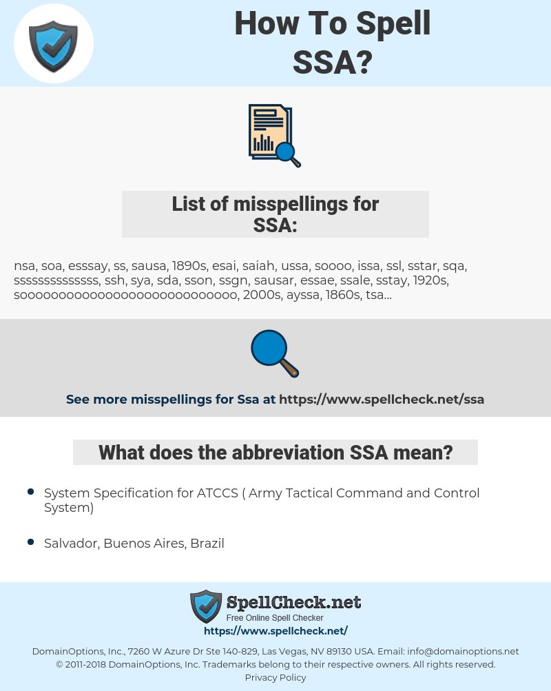 SSA, spellcheck SSA, how to spell SSA, how do you spell SSA, correct spelling for SSA