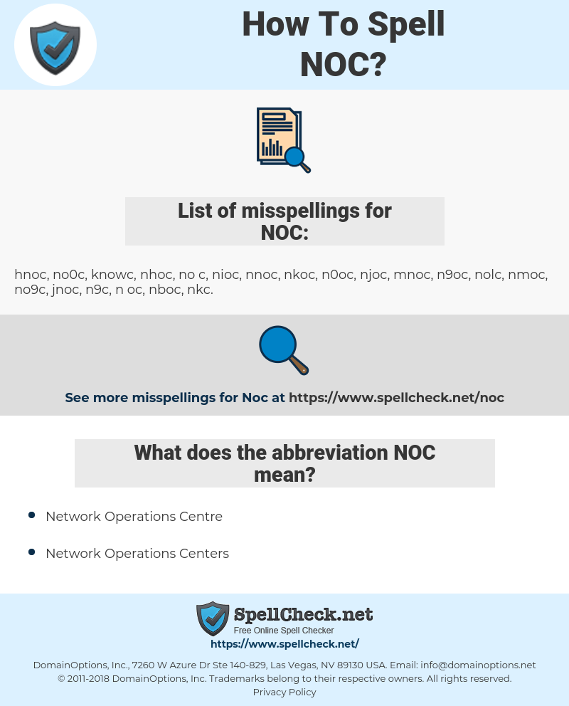 NOC, spellcheck NOC, how to spell NOC, how do you spell NOC, correct spelling for NOC