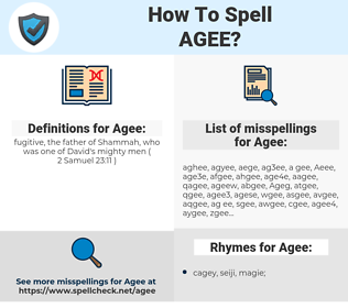 Agee, spellcheck Agee, how to spell Agee, how do you spell Agee, correct spelling for Agee