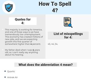 4, spellcheck 4, how to spell 4, how do you spell 4, correct spelling for 4