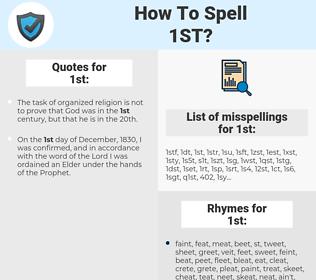 1st, spellcheck 1st, how to spell 1st, how do you spell 1st, correct spelling for 1st