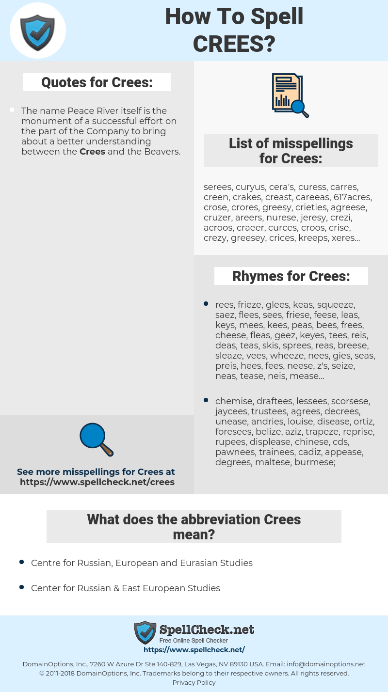 Crees, spellcheck Crees, how to spell Crees, how do you spell Crees, correct spelling for Crees