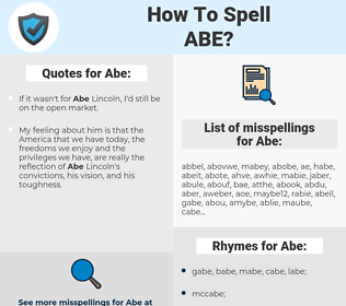 Abe, spellcheck Abe, how to spell Abe, how do you spell Abe, correct spelling for Abe