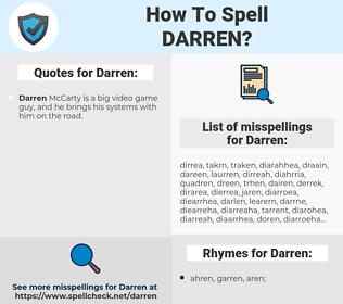 Darren, spellcheck Darren, how to spell Darren, how do you spell Darren, correct spelling for Darren