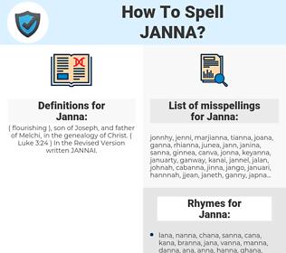 Janna, spellcheck Janna, how to spell Janna, how do you spell Janna, correct spelling for Janna