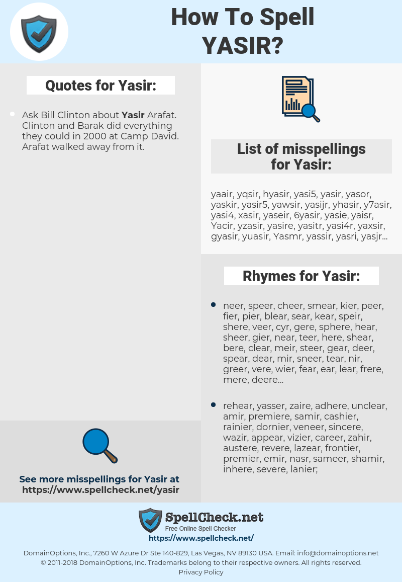 Yasir, spellcheck Yasir, how to spell Yasir, how do you spell Yasir, correct spelling for Yasir