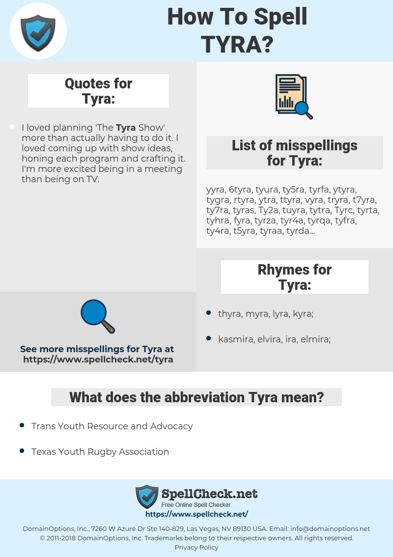Tyra, spellcheck Tyra, how to spell Tyra, how do you spell Tyra, correct spelling for Tyra