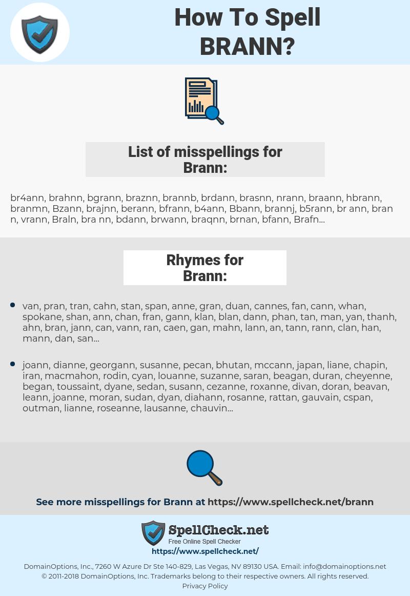 Brann, spellcheck Brann, how to spell Brann, how do you spell Brann, correct spelling for Brann