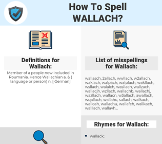 Wallach, spellcheck Wallach, how to spell Wallach, how do you spell Wallach, correct spelling for Wallach