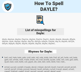 Dayle, spellcheck Dayle, how to spell Dayle, how do you spell Dayle, correct spelling for Dayle