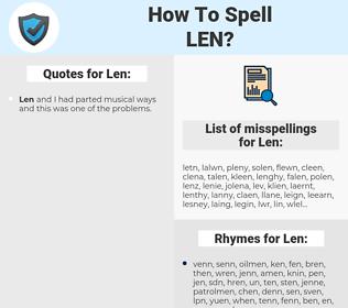 Len, spellcheck Len, how to spell Len, how do you spell Len, correct spelling for Len