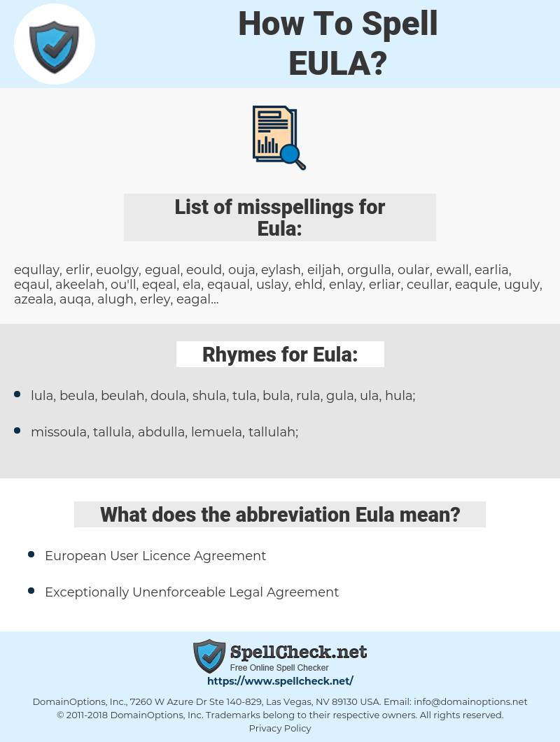 Eula, spellcheck Eula, how to spell Eula, how do you spell Eula, correct spelling for Eula
