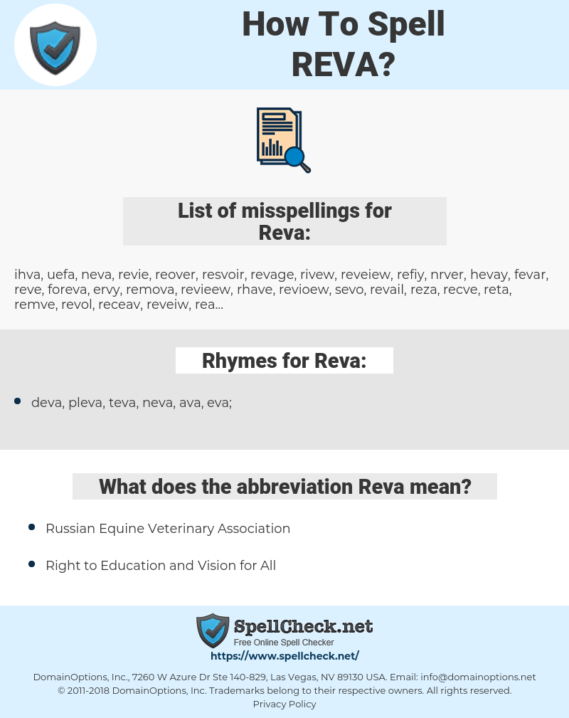 Reva, spellcheck Reva, how to spell Reva, how do you spell Reva, correct spelling for Reva