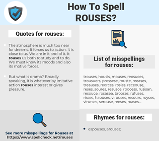 rouses, spellcheck rouses, how to spell rouses, how do you spell rouses, correct spelling for rouses