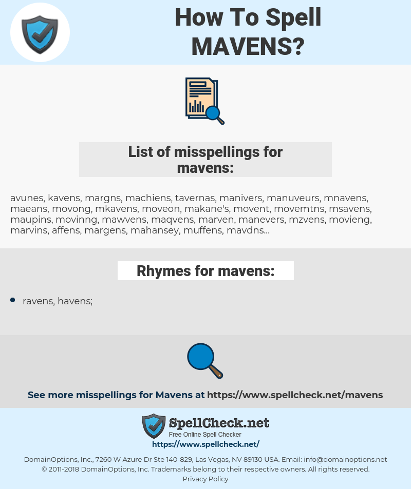 mavens, spellcheck mavens, how to spell mavens, how do you spell mavens, correct spelling for mavens