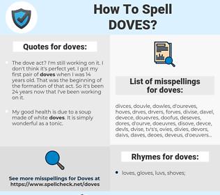 doves, spellcheck doves, how to spell doves, how do you spell doves, correct spelling for doves