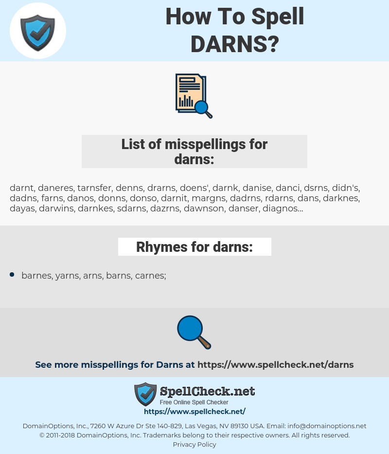 darns, spellcheck darns, how to spell darns, how do you spell darns, correct spelling for darns