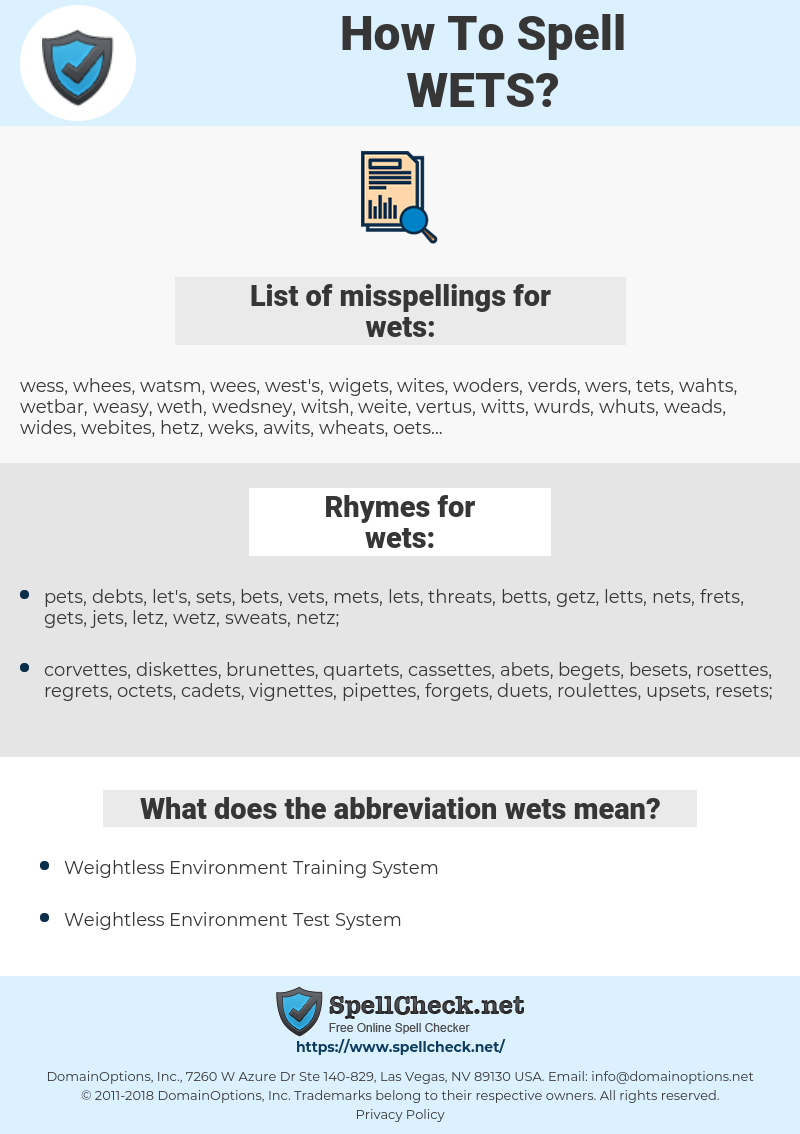 wets, spellcheck wets, how to spell wets, how do you spell wets, correct spelling for wets