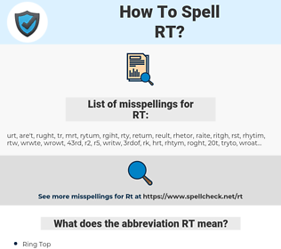 RT, spellcheck RT, how to spell RT, how do you spell RT, correct spelling for RT